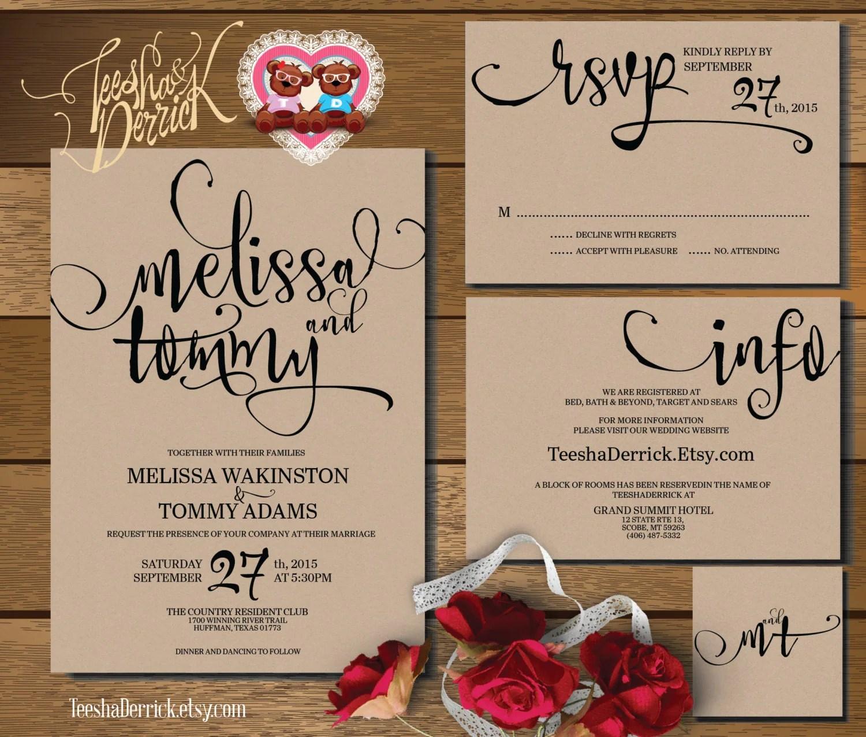 Printable Wedding Invitation Suite w0346 consists of