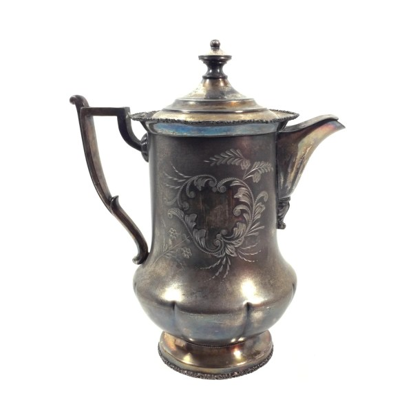 Large 11 Antique Silver Water Pitcher With Leaf & Scroll