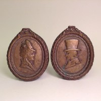 Victorian Silhouette Plaque Vintage Cast Bronze Wall Art