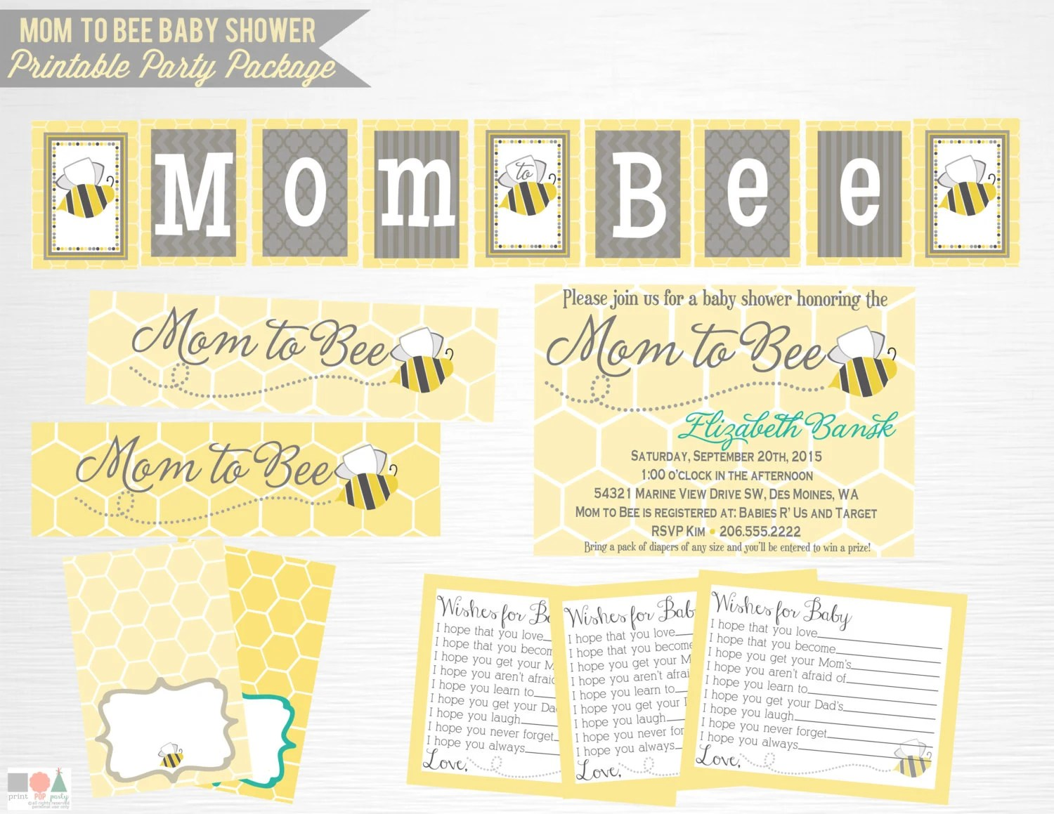 Mom To Bee Baby Shower Printable Party Package You Print