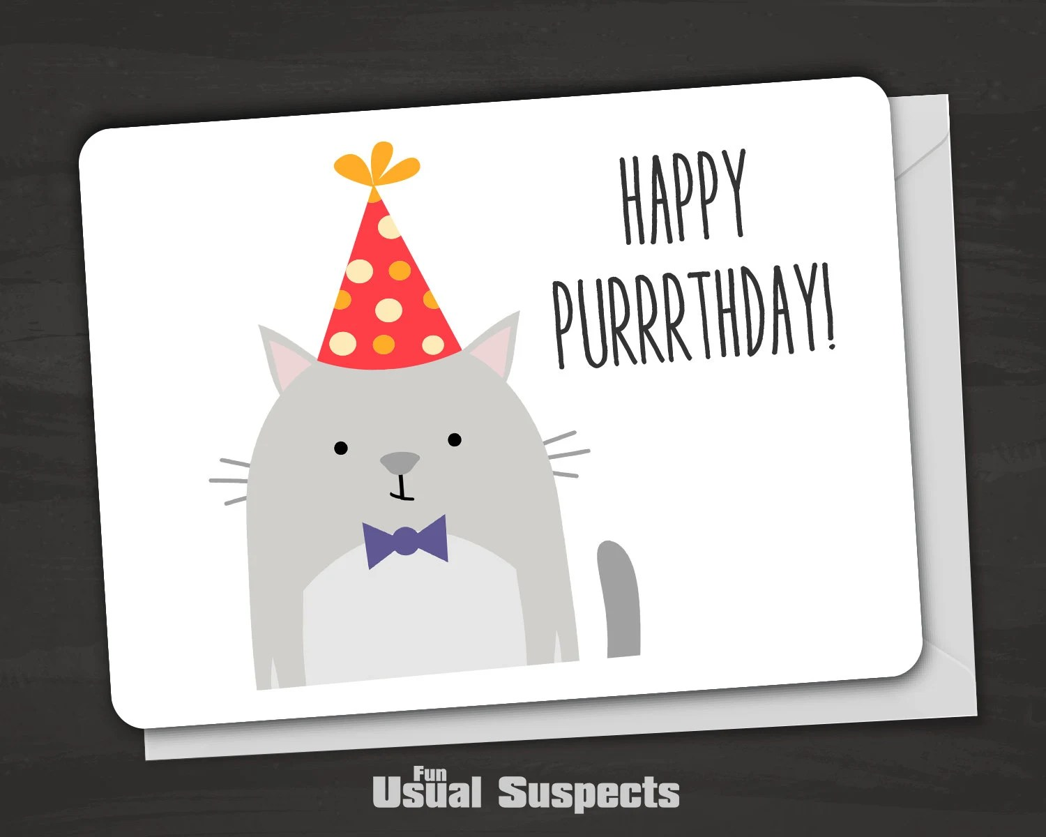 Happy Birthday Card Cat Birthday Card Cat Pun By