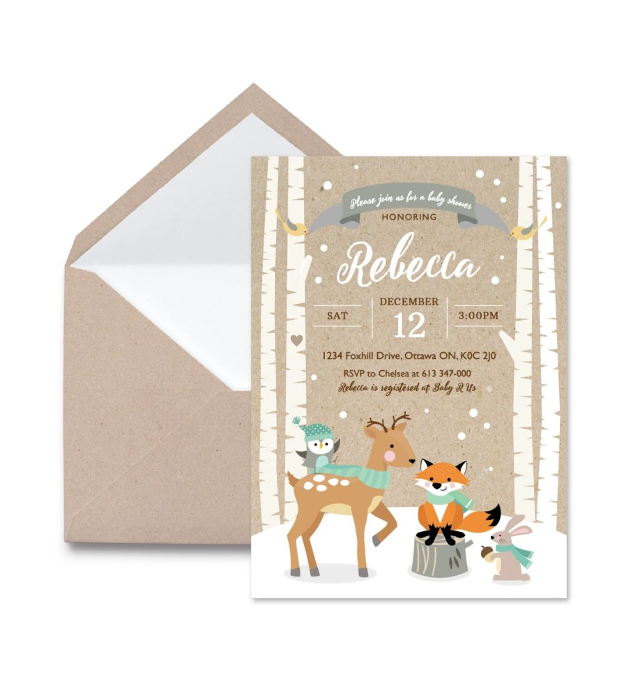 winter woodland party invitation