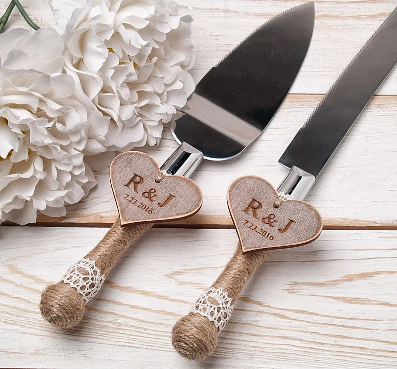 Cake Serving Set Rustic Wedding Cake Cutting Set Wedding Cake