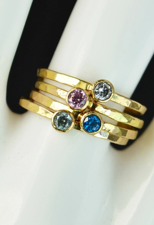 Grab 4 Classic 14k Gold Filled Birthstone Rings Solitaire Ring