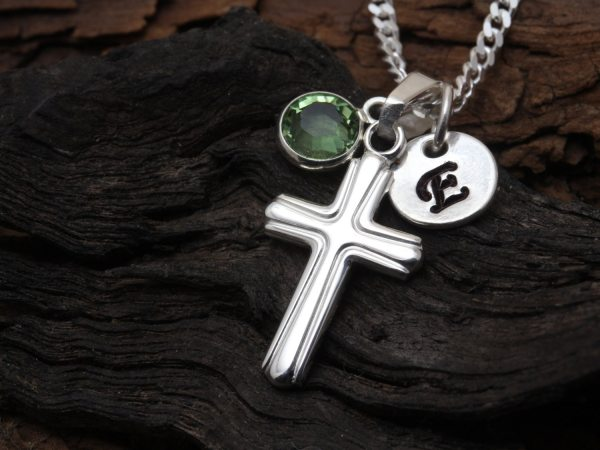 Boys Girls Sterling Silver Small Cross Necklace Initial