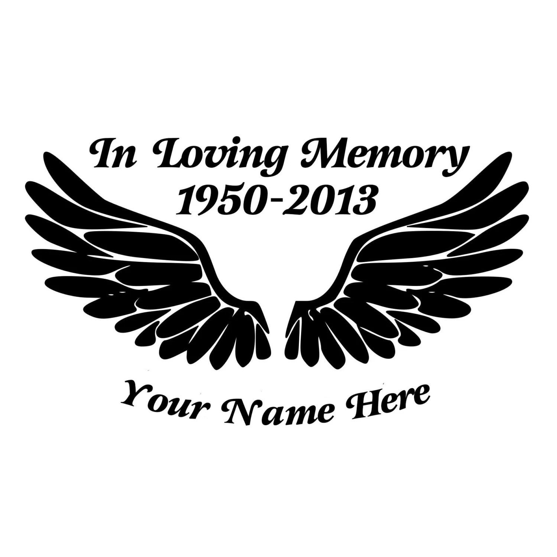 In Loving Memory Angel Wings Cut Decal Car Window Wall
