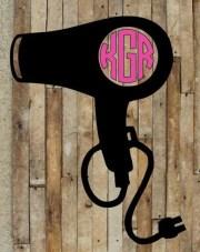hair dryer monogram decal