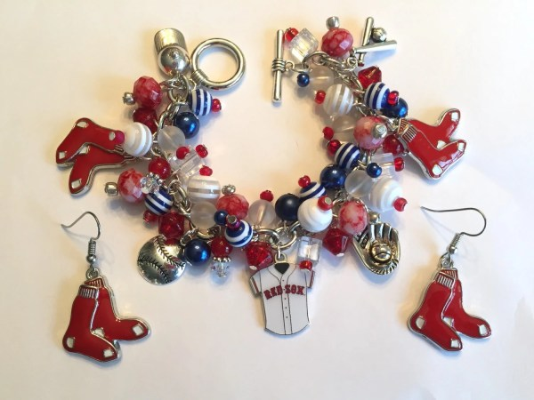 Boston Red Sox Charm Bracelet And Matching Earrings