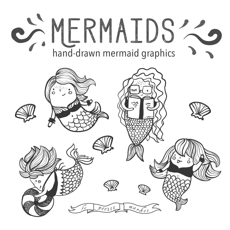 Hand Drawn Cute Mermaid Clip Art Illustrated Mermaid