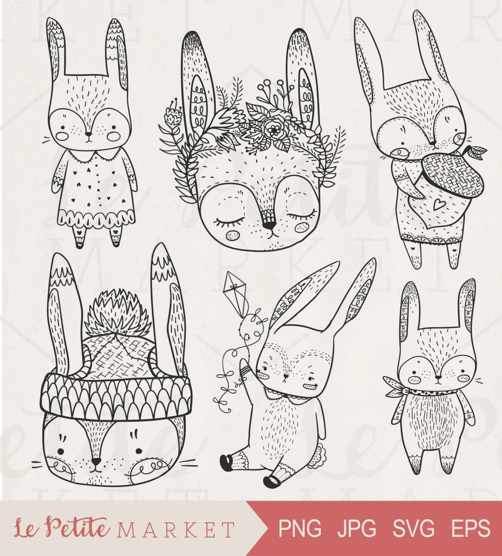 Cute Hand Drawn Digital Rabbits Clip Art Hand Drawn Bunnies