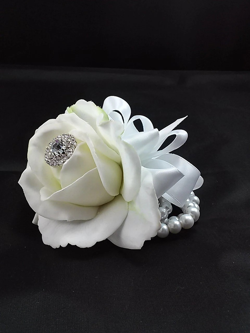 White Rose Wrist Corsage Wedding Flower Prom Corsage Real