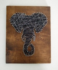 Elephant String Nail Art on Stained Wood