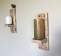Rustic wall sconces Candle shelf Wooden by ABCwoodworkings