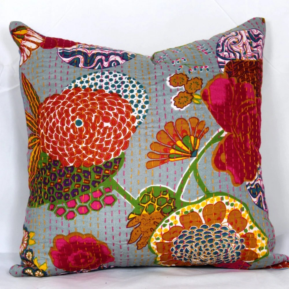 Indian quilted 20x20 pillow cover 24x24 kantha pillow cover