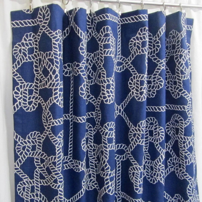 Navy Blue Nautical Curtains Custom Rope Print Curtain Panels