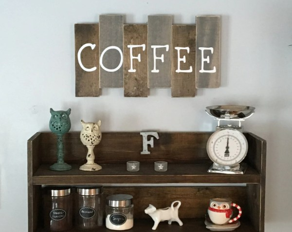 Wooden Coffee Sign Kitchen Decor Bar Reclaimed Wood