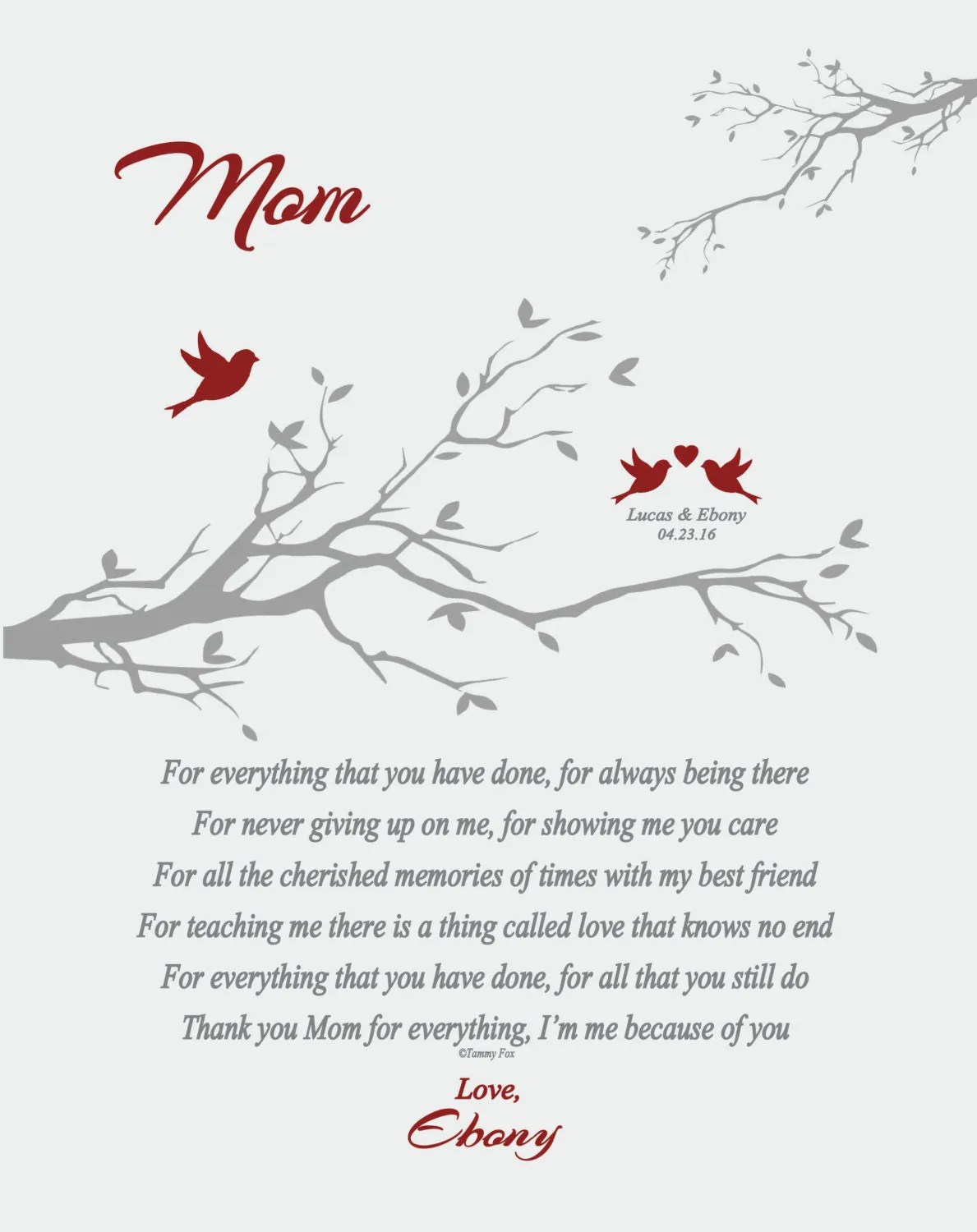 Wedding Thank You Gift for Mom from Daughter or