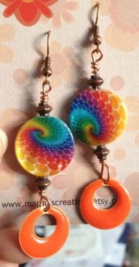 Rainbow colored mother of pearl earrings bohemian earrings