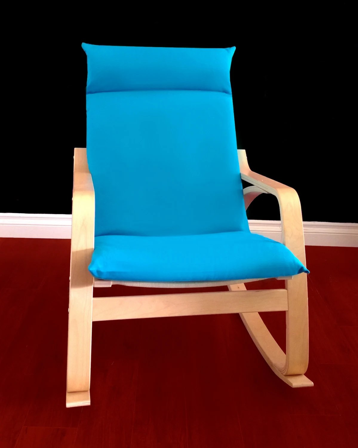 ikea poang chair cover reupholstering a turquoise solid blue seat