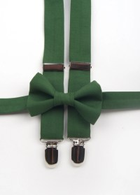 Hunter Green Bow Tie & Suspenders Set green bow tie green