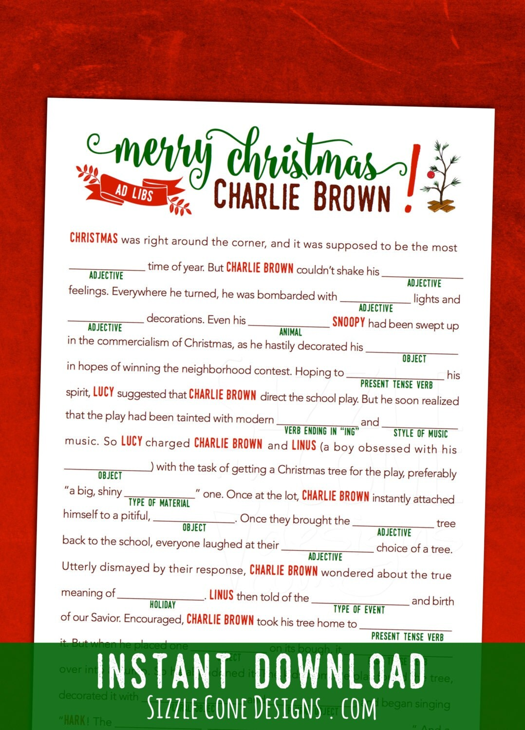 Printable Charlie Brown Christmas Mad Lib Children S