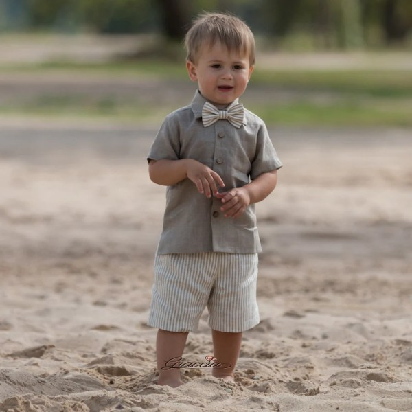 f2a274af65 Ring Bearer Outfit Baby Boy Linen Suit Rustic Wedding