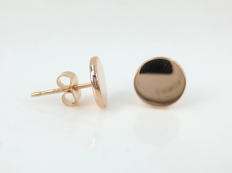 14K Rose Gold Small Disc Stud Earrings.