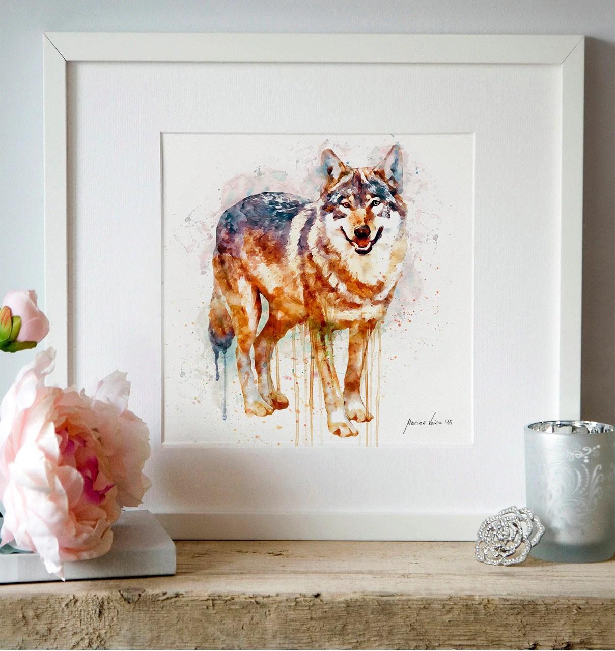 Alpha Wolf Wall Art Watercolor Painting Animal Art Wolf Decor