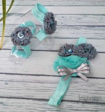 Baby Girl Barefoot Sandals And Headband Teal Gray