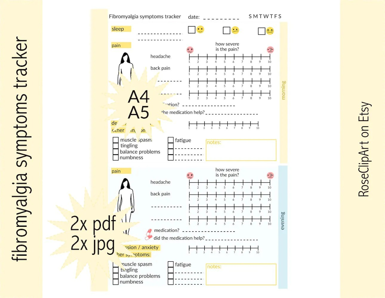 Pain Tracker A4 A5 Instant Download Printable Fibromyalgia
