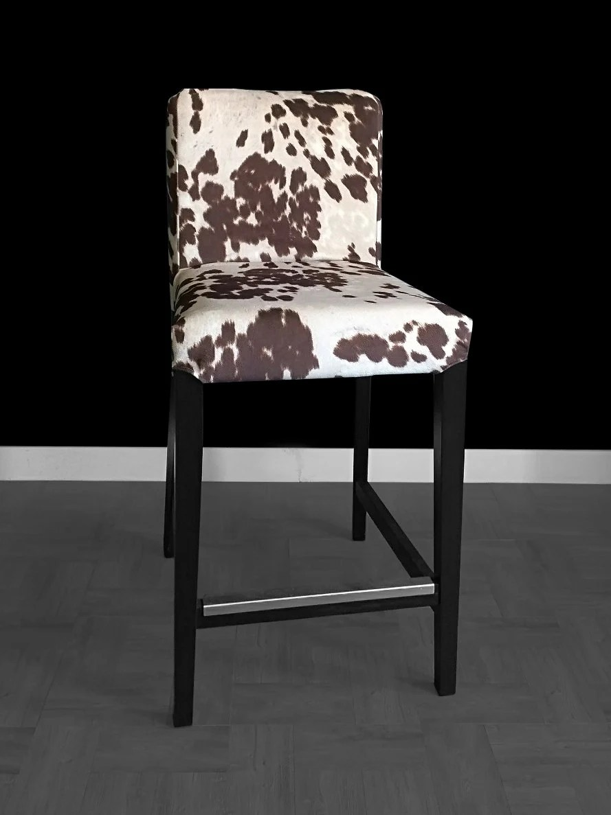 ikea usa chair covers yellow bedroom henriksdal bar stool cover cow print slip
