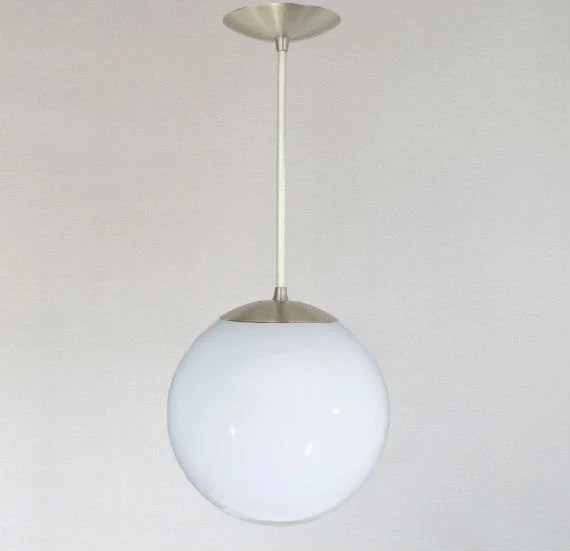 Mid Century Modern 10 Globe Pendant Light White Glass