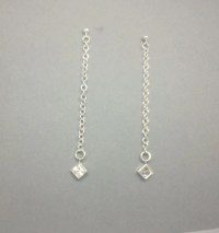 Sterling Silver Long Chain Stud Earrings Long by