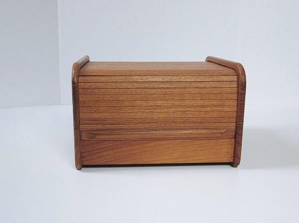 Teak Wood Tambour Door Storage Box Rolltop Recipe Cd