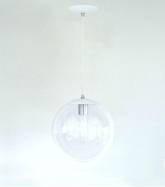 White Pendant Light Mid Century Modern 10 Clear Glass