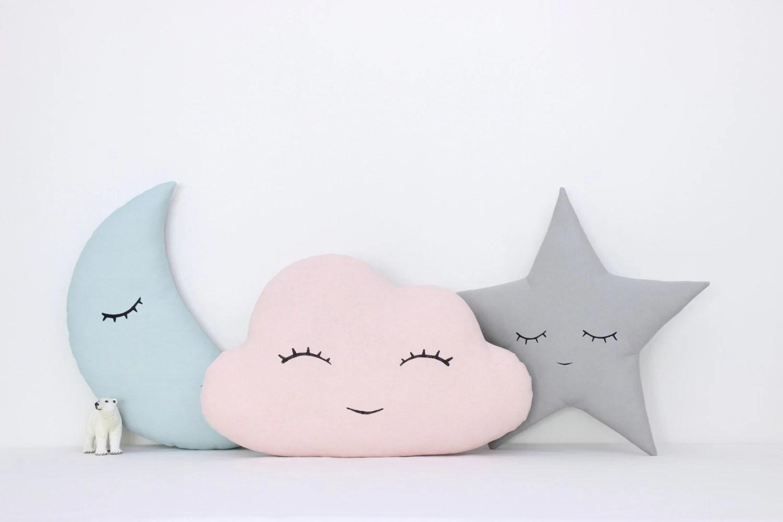 Set Of Cloud Moon And Star Pillows Kids Pillows Kids Room