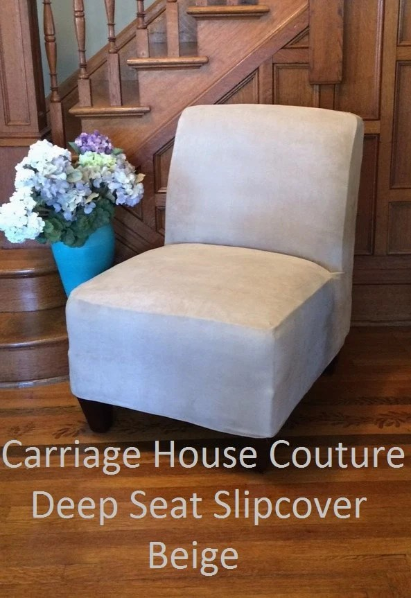 slipcover for armless slipper chair egg swing nz beige suede cover by carriagehousecouture