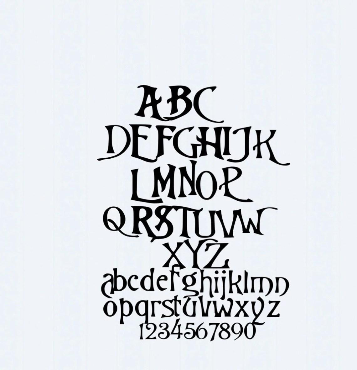 Download Nightmare Christmas SVG Font, Digital Alphabet, SVG ...