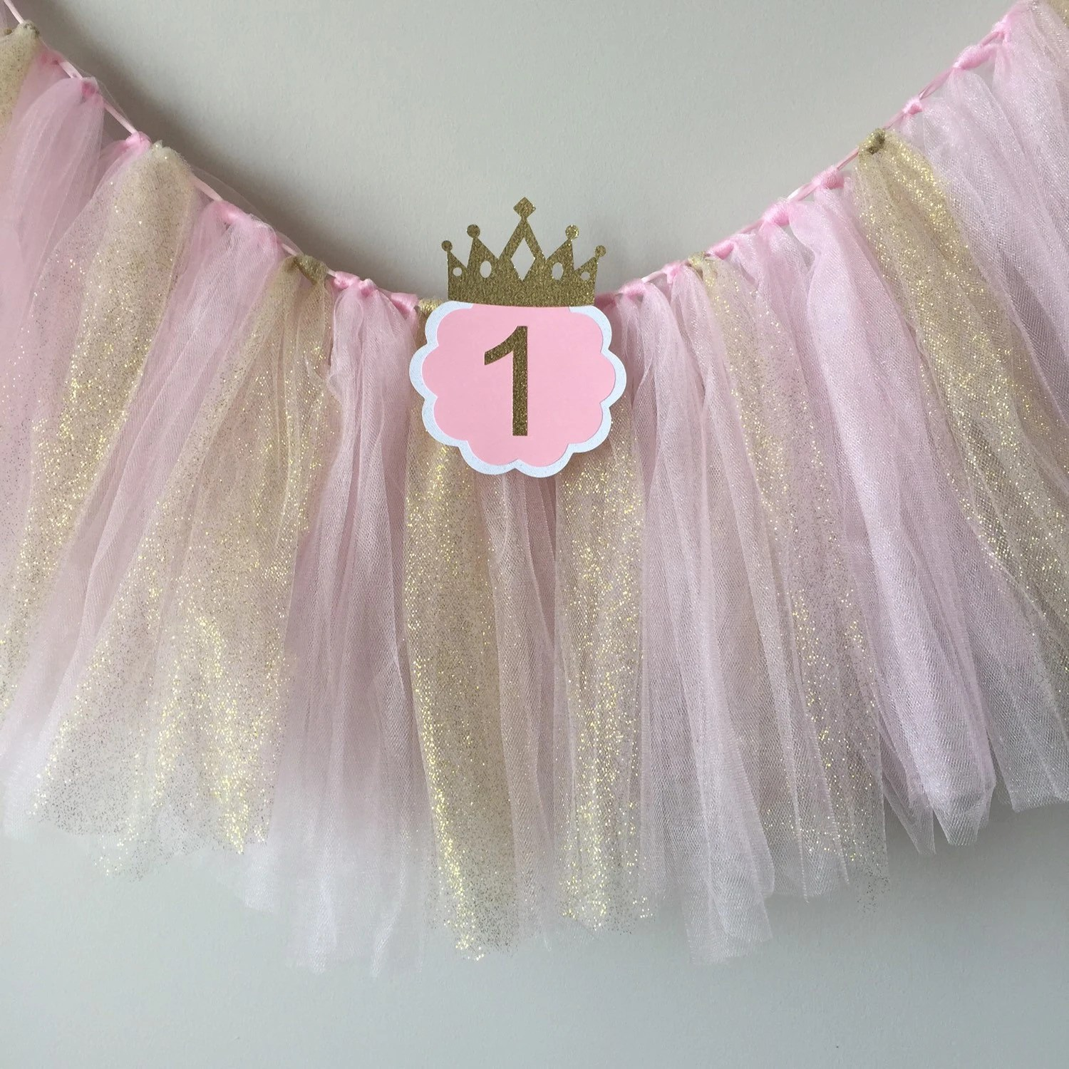 high chair tutu design bamboo pink and gold birthday party