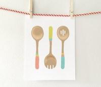 Kitchen utensils kitchen art dining room wall decor pink