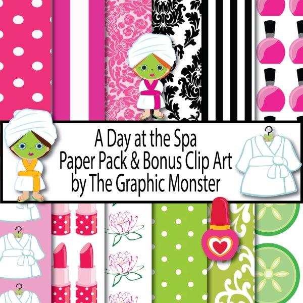 scrapbook paper spa day theme