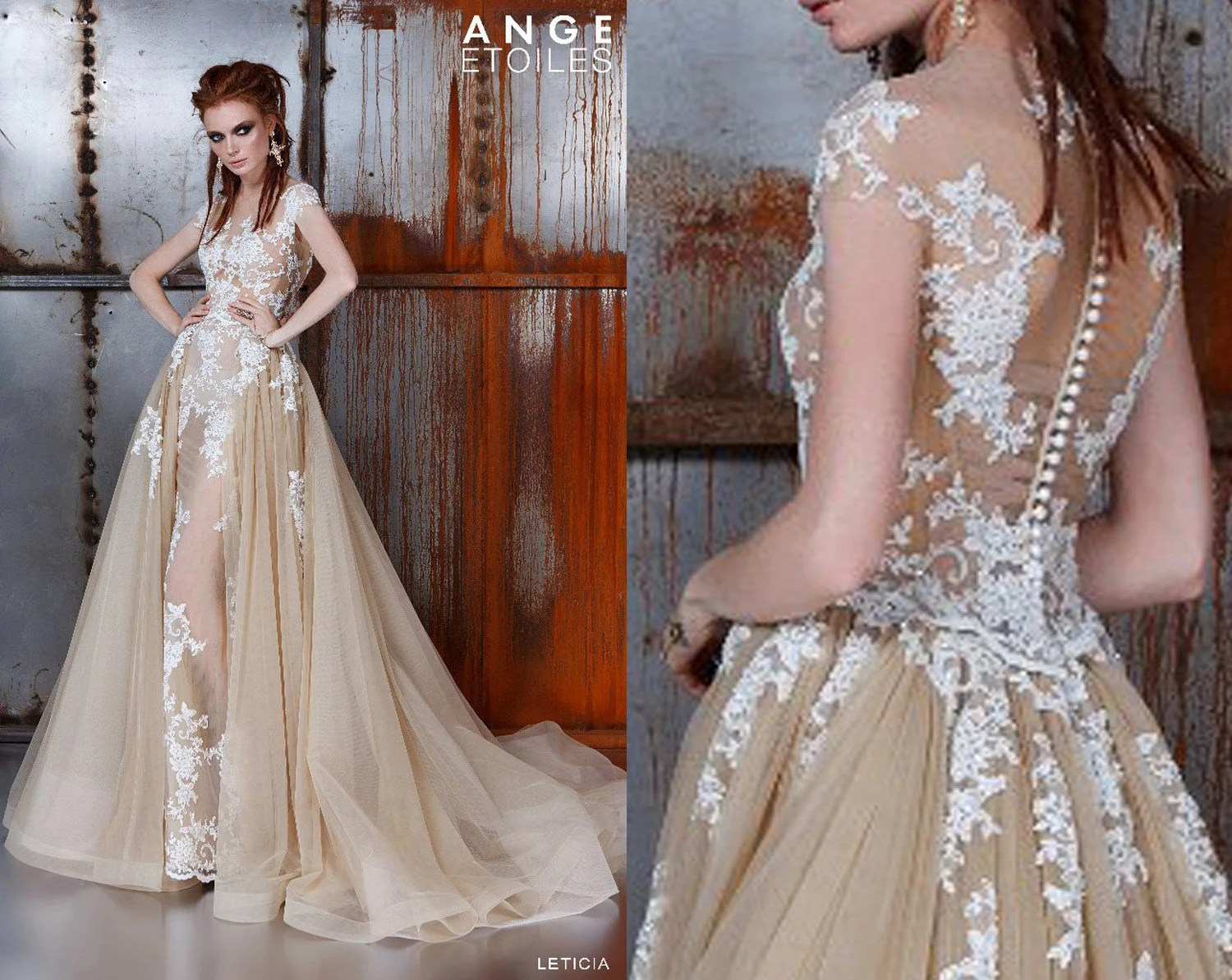 Wedding Dress LETICIA Unique Wedding Gown Champagne Dress