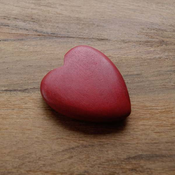 Wooden Heart Dyed Red Natural Wood