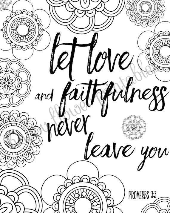 5 Bible Verse Coloring Pages Set 2 Floral by