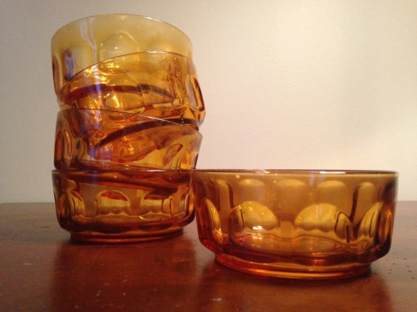Amber Glass Thumbprint Bowl - Year of Clean Water