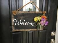 Mason jar decor, Mason jar welcome sign, Welcome door sign ...