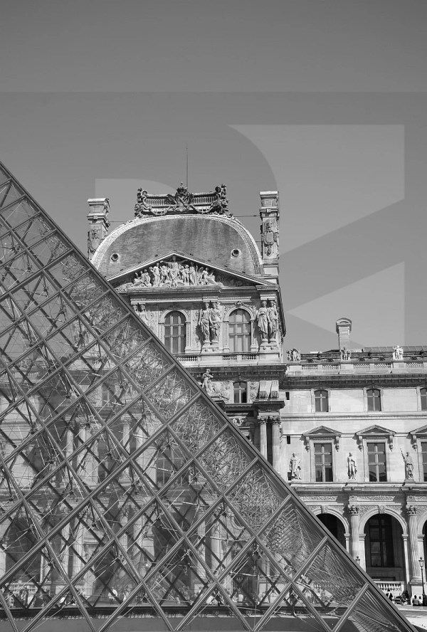 Pyramid Louvre Museum Paris France Black And White Art