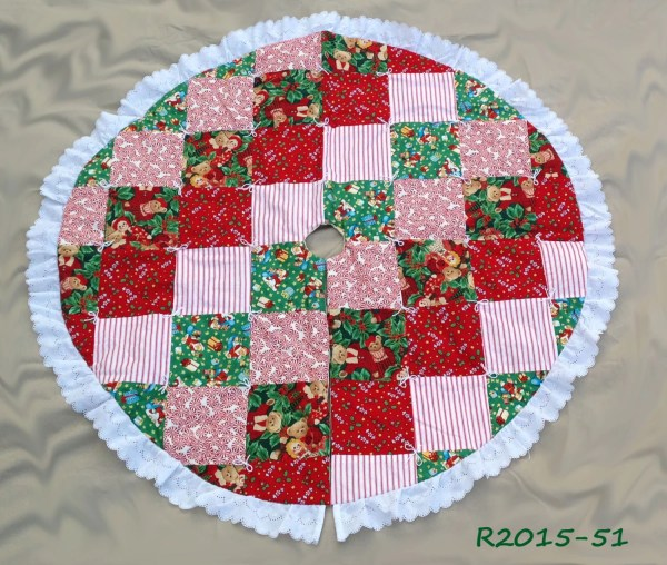 Quilted Christmas Tree Skirt Handmade Patchwork