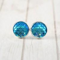 12mm Blue Mermaid stud earrings by DBSAccessories on Etsy