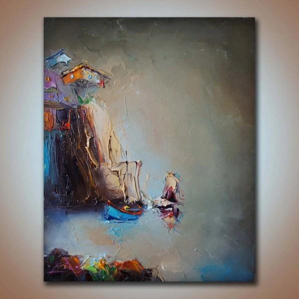 Original Minimalist Abstract Landscape Painting Oil